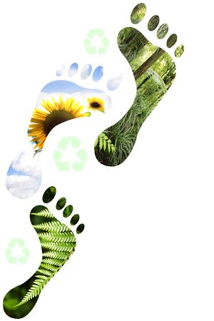 carbon footprint: Environmental footprints on white background.