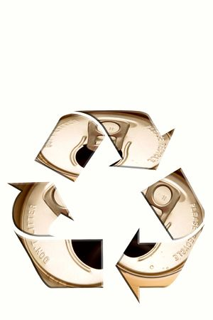 Recycling symbol on white background.  Aluminum cans. Stock Photo - 5860964