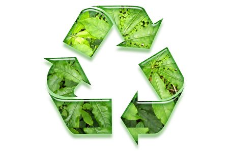 Recycling symbol on white background. Green leaves. photo