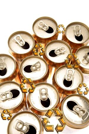 Recycling symbols and aluminum cans on white background Stock Photo - 5860968