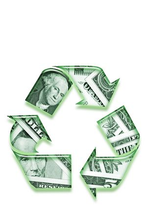 Recycling symbol made of money on white background. photo