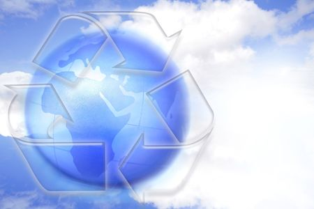 Recycling symbol, globe and blue sky. Copy space. Stock Photo - 5860965