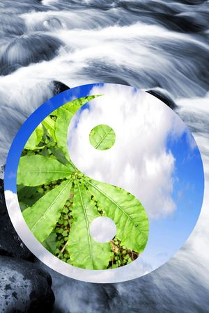 Leaves and clouds in Yin Yang symbol over stream. photo