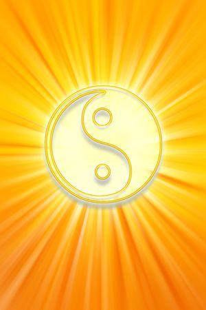yin y yang: Yin Yang s�mbolo sobre fondo amarillo brillante