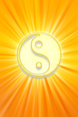 Yin Yang symbol on bright yellow background photo