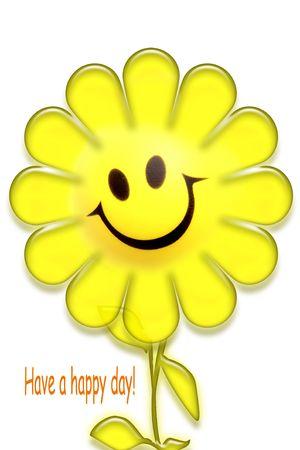 Sonriente rostro de flor sobre blanco. Tienen un mensaje de Feliz día.