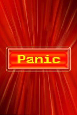 panic button: Pulsante di panico su sfondo rosso. Archivio Fotografico