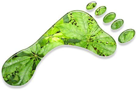 Environmental footprint on white background. Stock Photo