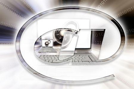 Computer symbol, padlock and laptop. Stock Photo - 5873839