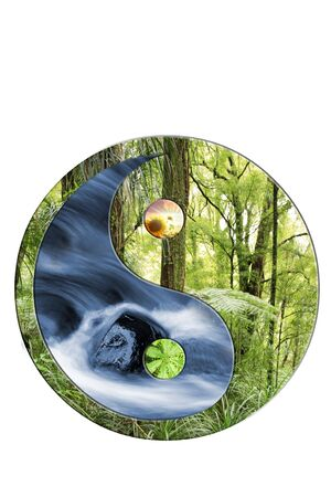 yin yang symbol: Yin Yang symbol on white. Water and forest scenes. Stock Photo