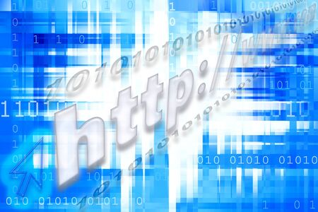 Binary codes and wed address on abstract blue background. photo