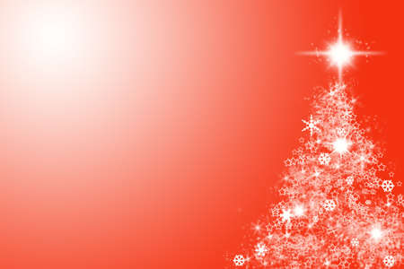 Christmas tree shape on red background. Copy space. Stock Photo - 5960919