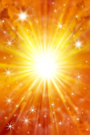 Stars on yellow and orange tone background. Copy space. Stock Photo - 5960918