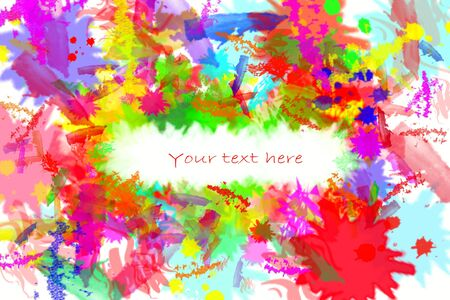 Colorful splashed color on white. Copy space. Stock Photo - 5960922
