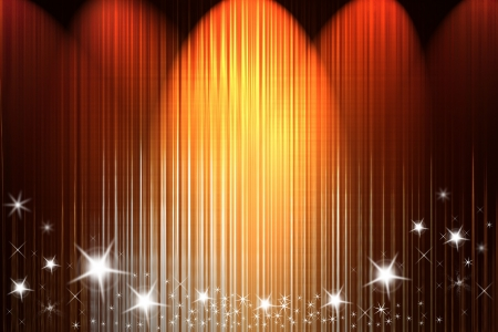 drapes: Spot lights shining onto background. Shiny stars. Stock Photo