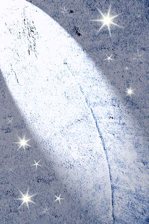 limelight: Spotlight shining on blue wall. Copy space. Stock Photo