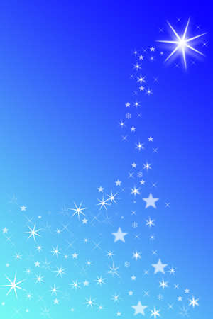Shooting star in blue sky. Copy space. photo