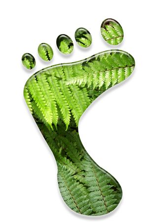 ecological problem: Environmental footprint isolated on white background.