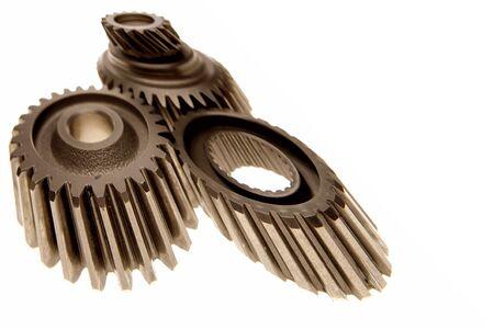 meshing: Three gears meshing together on white    Stock Photo