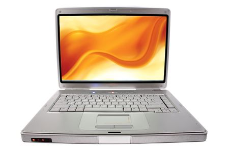 Laptop computer isolated on white. (Design on screen by photographer too)  photo