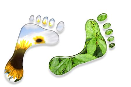 greenhouse effect: Environmental foot prints isolated on white background.