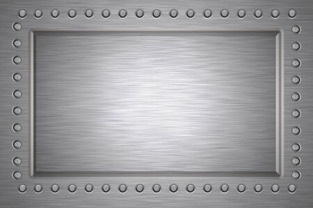 Rivets in brushed steel background. Copy space photo