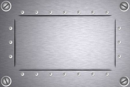 solidity: Screws and rivets in brushed steel background. Copy space.