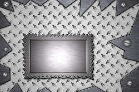 Blank panel riveted to diamond steel. Screws in torn metal. photo