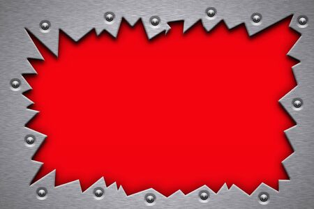 security gap: Rivets in torn metal on red background. Copy space.