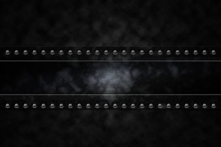 Rivets in black leather lookalike background photo