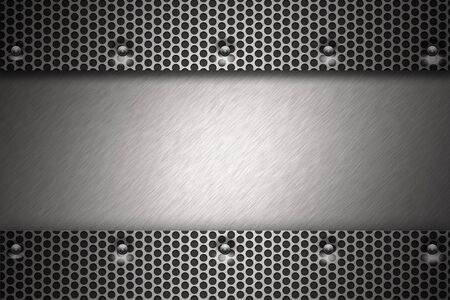 Grill pattern riveted to brushed steel background.  Stock Photo