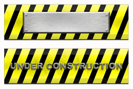 Blank plate and under construction signs. Isolated on white.  Stock Photo - 6196817