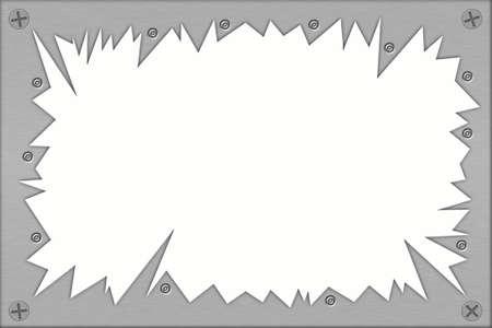 security gap: Rivets and screws in torn metal. Copy space.