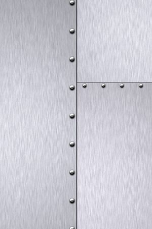 Rivets in brushed steel background. Copy space.    photo