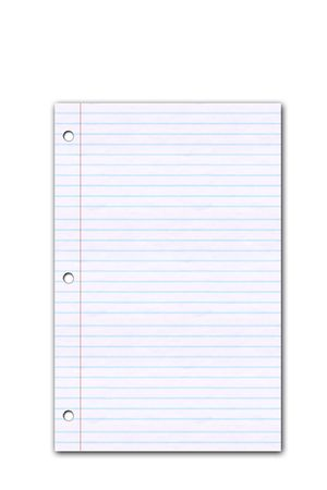 Lined paper on white background photo