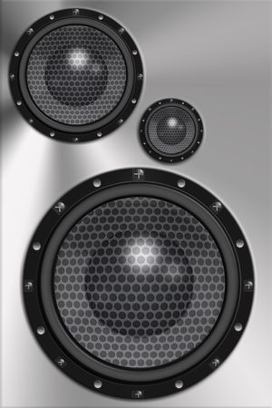 woofer: Three loud speakers in steel background.