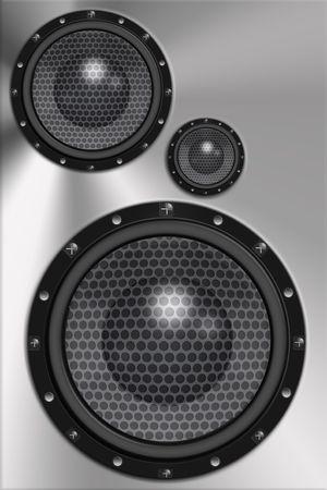 speakers: Three loud speakers in steel background.
