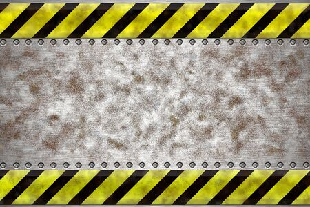 Rivets in grungy steel background. Yellow and black construction border.Copy space Stock Photo - 6302088