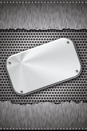 Brushed steel plate on metal background. Copy space Stock Photo - 6337983