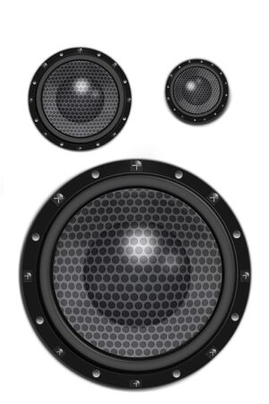 sub woofer: Three loud speakers on white background.