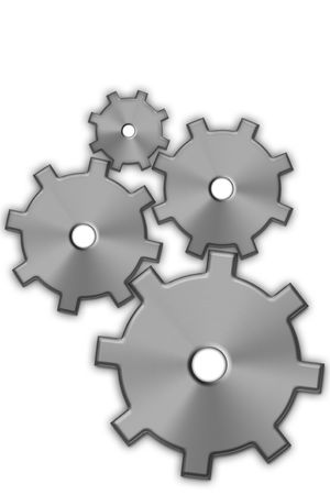 Four steel gears connecting on white background photo