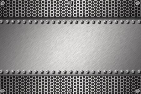 Grill pattern and rivets on brushed steel background.