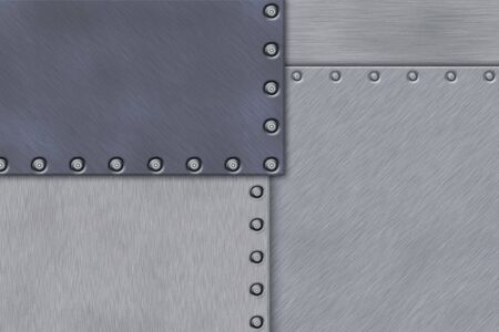 Rivets in brushed steel background. Copy space. Stock Photo - 6599438