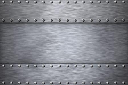 siderurgia: Remaches sobre fondo de acero cepillado.  Foto de archivo