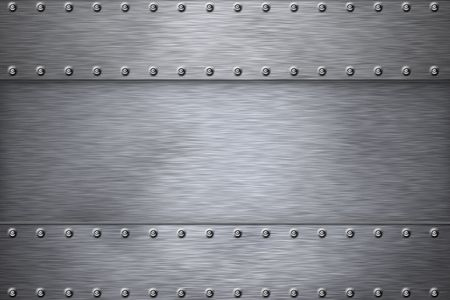 brushed steel background: Rivets on brushed steel background.