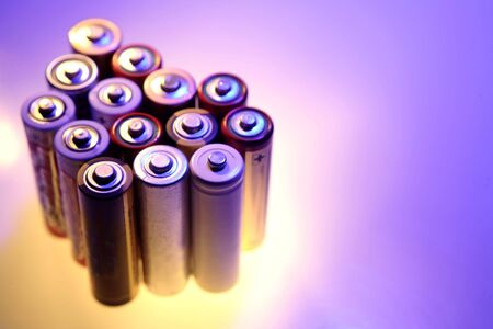 throwaway: Bunch of AA size batteries Stock Photo