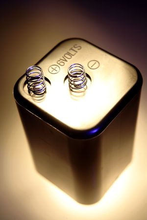 volts: Close-up of single 6 volts battery