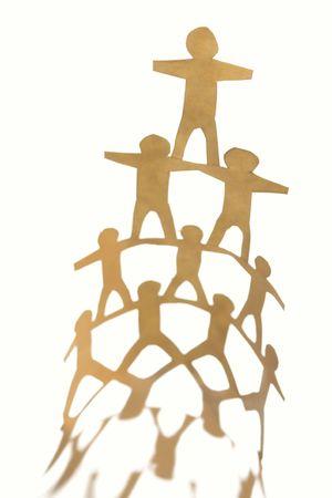 Human team pyramid on plain background photo