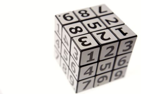 Numbers puzzle isolated over white photo