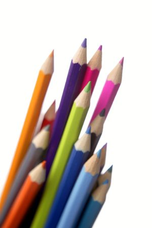 Colored pencils on plain background Stock Photo - 7029878